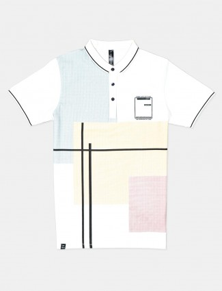 Cookyss printed white polo t-shirt