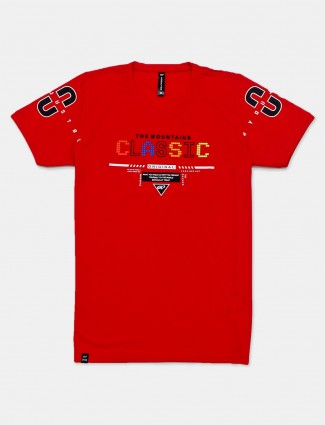 Cookyss red printed cotton casual t-shirt