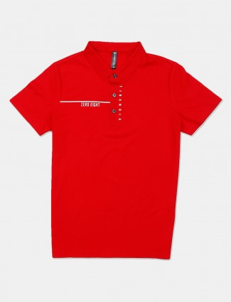 Cookyss red solid cotton slim fit polo t-shirt