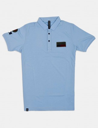 Cookyss sky blue solid casual wear t-shirt