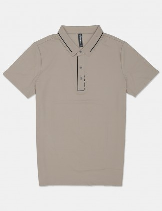 Cookyss solid beige cotton slim fit polo t-shirt