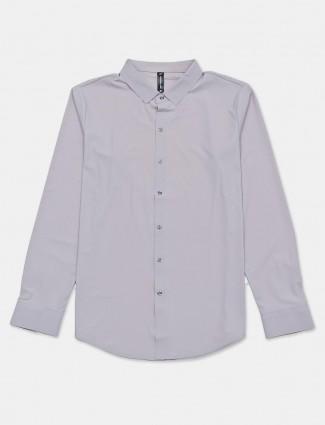 Cookyss solid grey slim collar shirt