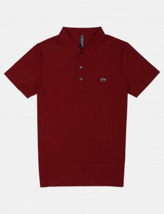 Cookyss solid maroon casual polo t-shirt