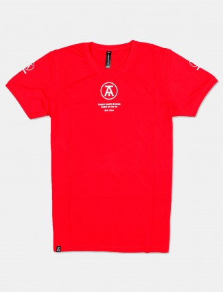 Cookyss solid red casual cotton t-shirt