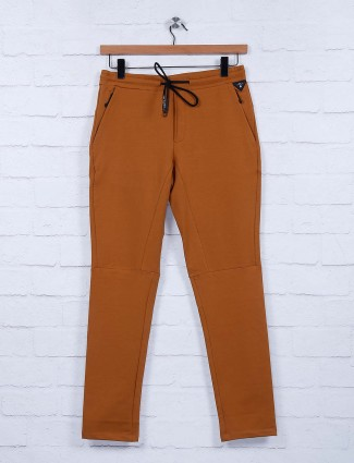 Cookyss solid rust orange color track pant