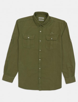 Copper Stone cotton solid green mens shirt