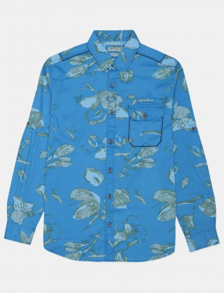 Copperstone blue printed casual mens shirt