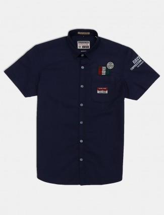 Copperstone cotton solid navy mens shirt