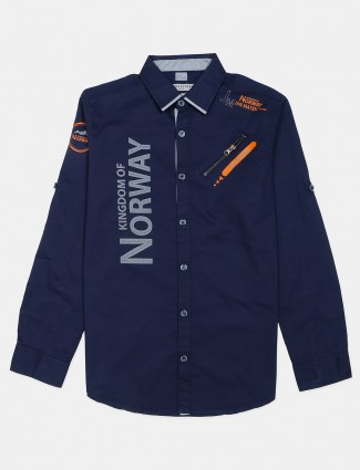 Copperstone navy cotton printed shirt