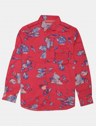 Copperstone pink printed cotton shirt