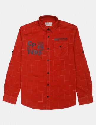 Copperstone red printed cotton shirt