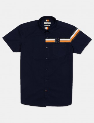 Copperstone solid navy shirt in cotton