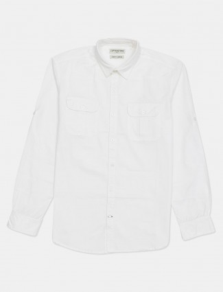 Copperstone solid white cotton casual shirt