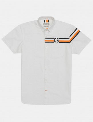Copperstone white solid cotton shirt for mens