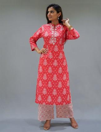 Coral pink cotton festive wear printed punjabi style palazzo suit