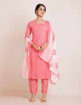 Coral pink designer cotton festive events punjabi style pant suit