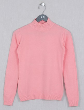 Deal coral pink knitted casual top for women