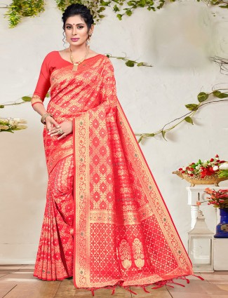 Coral pink lovely wedding ceremony patola silk saree