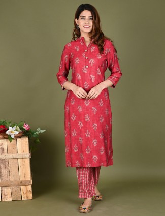 Coral pink punjabi style cotton printed casual wear pant suit