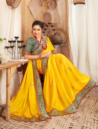 Corn yellow fantastic festive wear satin saree