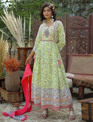 Cotton anarkali style festive wear kurti for women in lime green