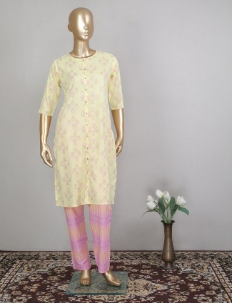 Cotton attractive yellow casual wear pant suit