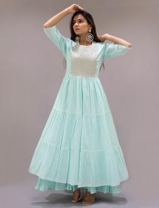 Cotton ocean green festive wear kurti for wonderful lady