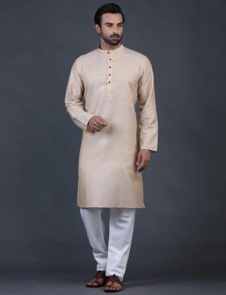 Cotton beige full sleeve kurta suit
