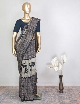 Cotton black festive saree wear