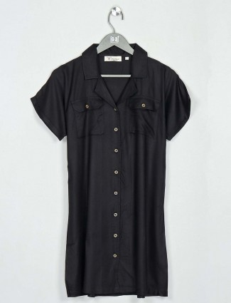 Cotton black top for casual wear