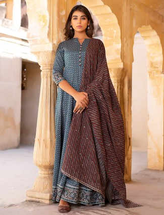 Cotton blue festive wear printed punjabi anarkali style pant suit