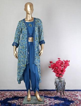 Cotton blue jacket style dhoti suit for festive