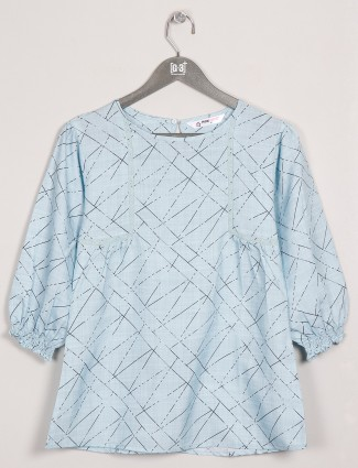 Cotton blue printed top for casual wear