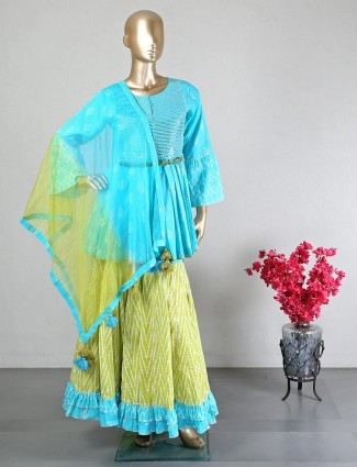 Cotton blue sharara suit for wedding