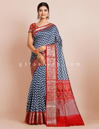 Cotton blue wedding wear saree