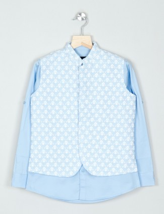 Cotton boys waistcoat shirt for parties in blue