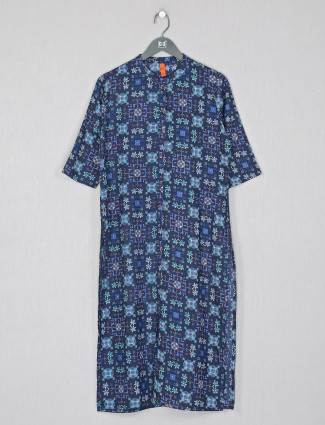 Cotton casual wear printed kurti for women in navy