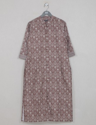 Cotton casual wear sand brown kurti for women