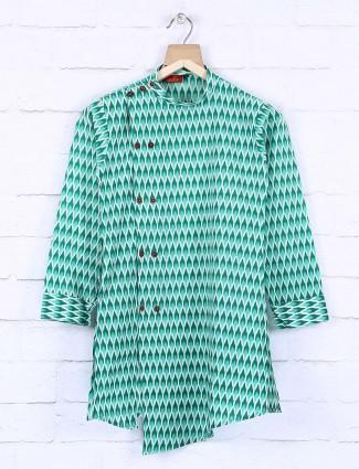 Cotton fabric green color kurta suit
