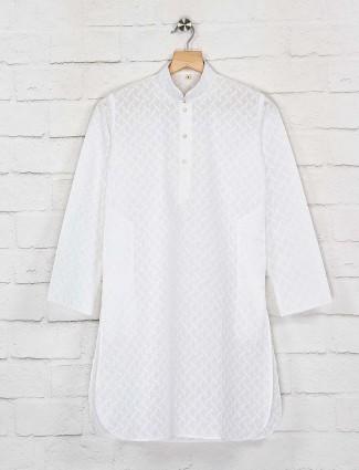 Cotton fabric white hue kurta suit