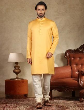 Cotton fabric yellow stand collar kurta suit