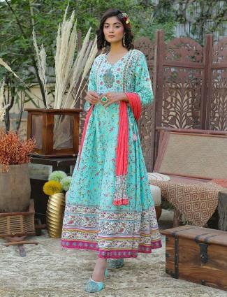 Cotton festive wear anarkali style kurti for women in aqua