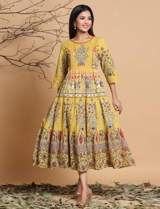Cotton festive wear anarkali style kurti in mustard