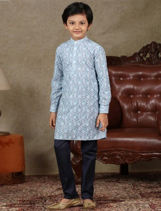 Cotton festive wear boys kurta suit in blue