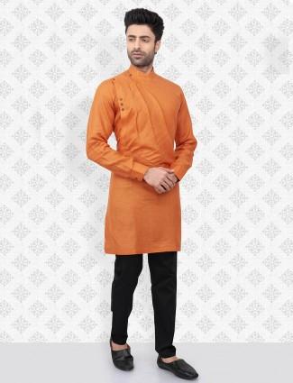 Cotton festive wear orange kurta suit