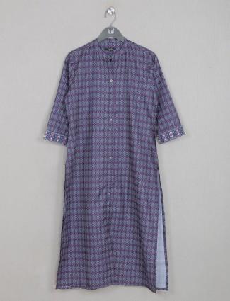 Cotton grape purple casual wear kurti for wonderful lady