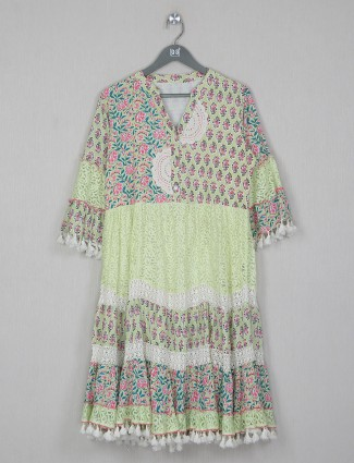 Cotton green casual occasions printed dress
