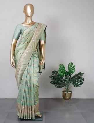 Cotton green saree for women