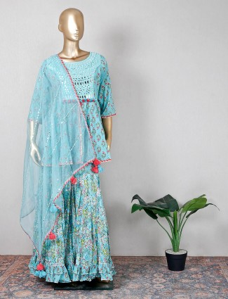 Cotton green sharara suit for wedding