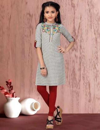 Cotton grey checks festive girls salwar suit